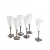 Pahare Sampanie Plastic Picior Argintiu ( 10 buc)
