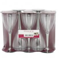 Pahare Vin Plastic Picior Argintiu (10 buc)